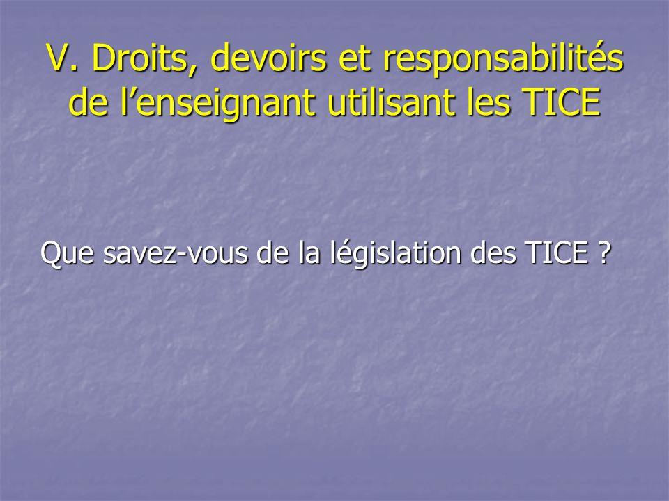 V. Droits, devoirs et responsabilités de l'enseignant utilisant les TICE