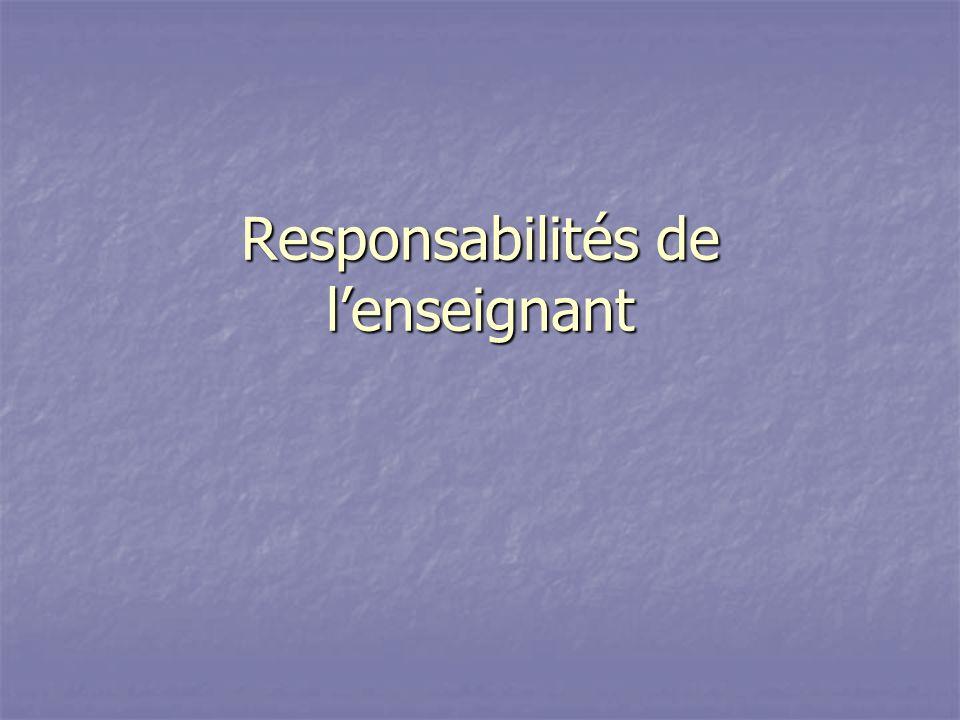 Responsabilités de l'enseignant