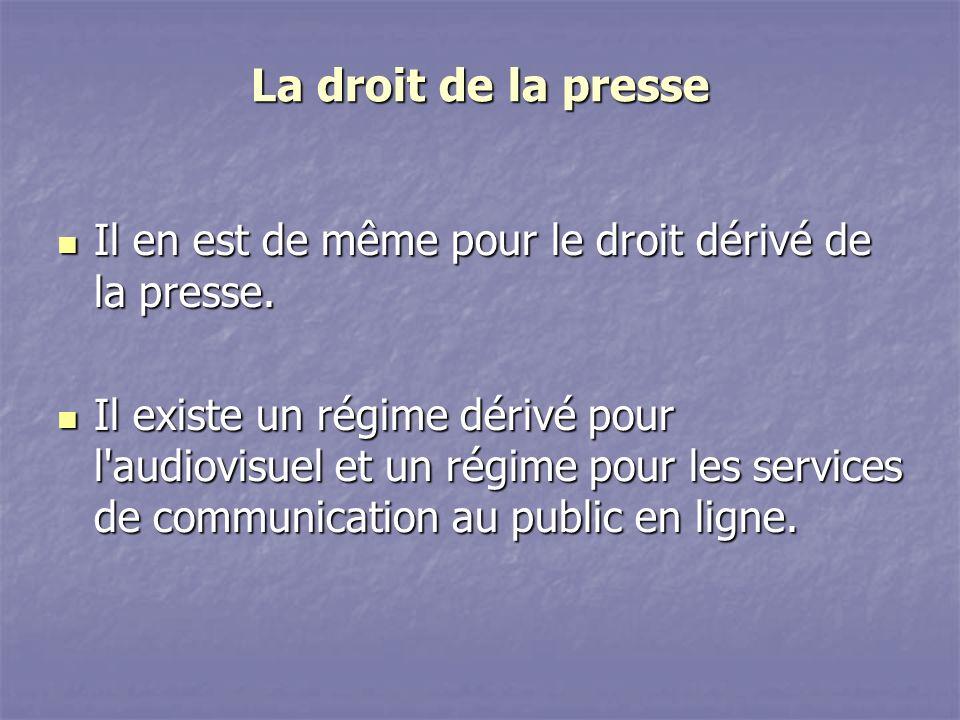 La droit de la presse Il en est de même pour le droit dérivé de la presse.