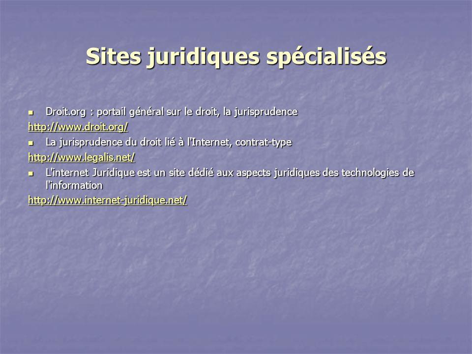 Sites juridiques spécialisés
