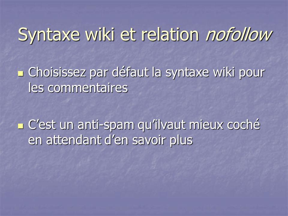 Syntaxe wiki et relation nofollow