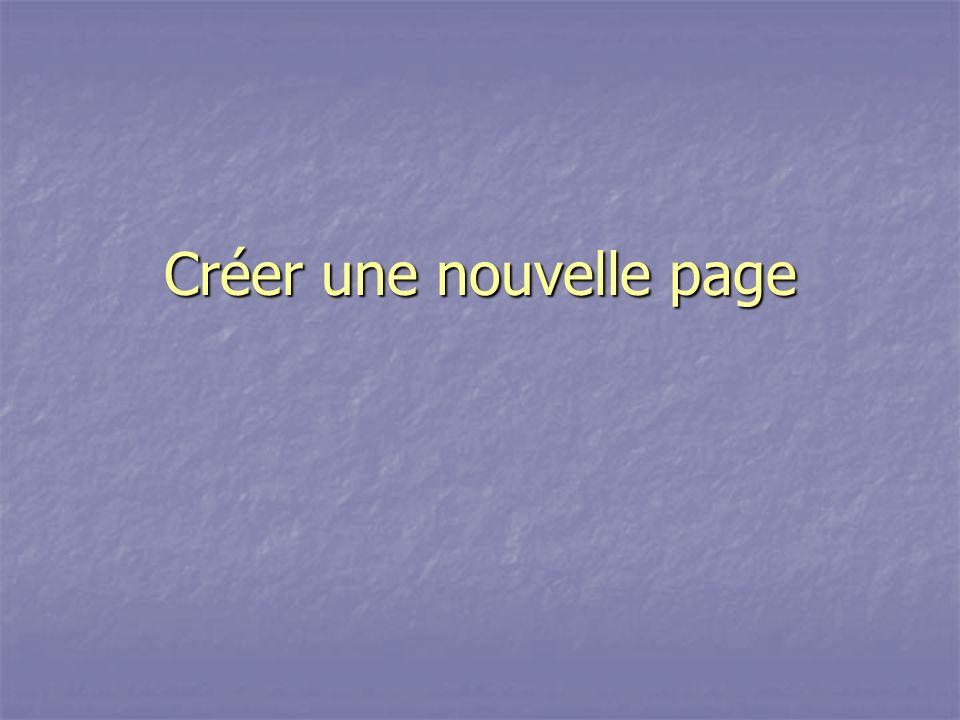 Créer une nouvelle page