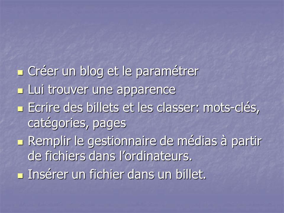 Créer un blog et le paramétrer