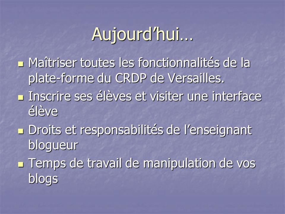 Aujourd'hui… Maîtriser toutes les fonctionnalités de la plate-forme du CRDP de Versailles. Inscrire ses élèves et visiter une interface élève.