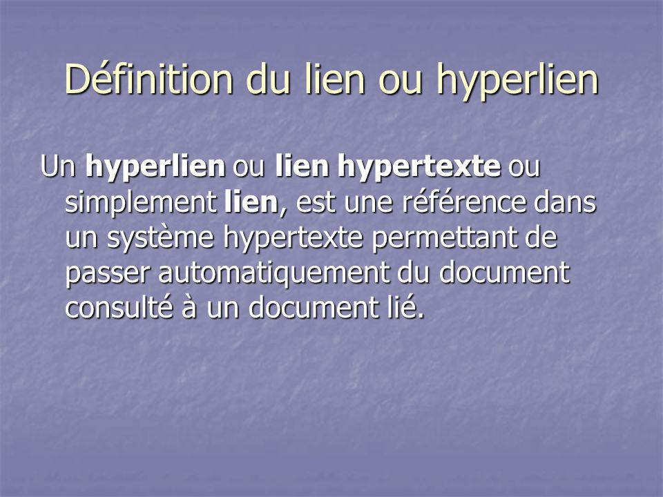 Définition du lien ou hyperlien
