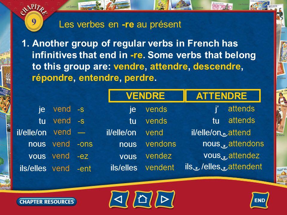 Les verbes en -re au présent