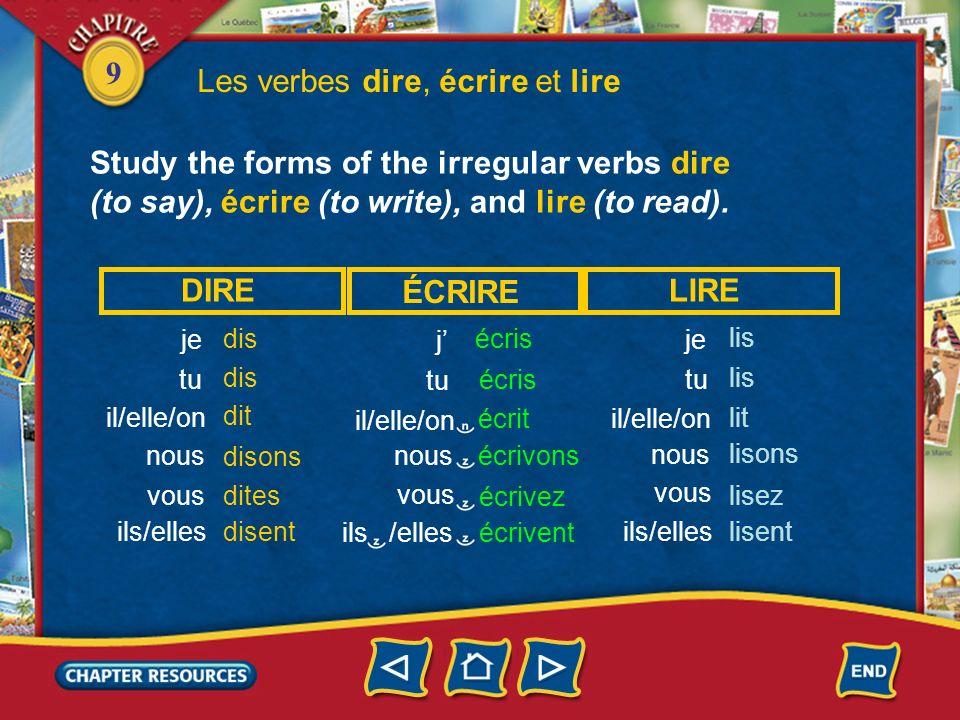 Les verbes dire, écrire et lire