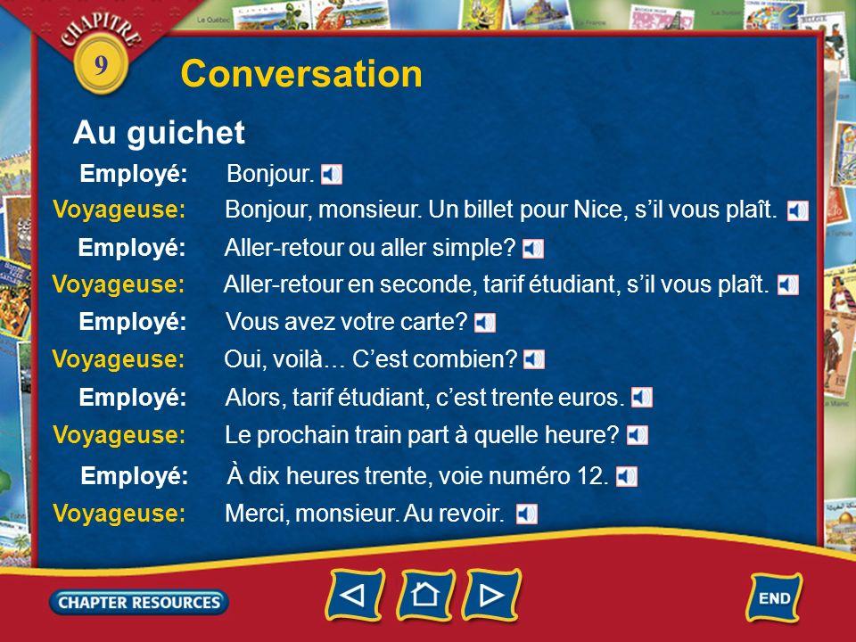 Conversation Au guichet Employé: Bonjour.