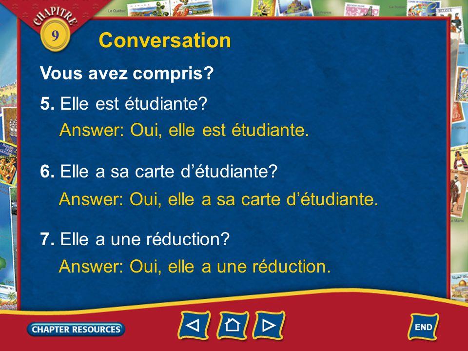 Conversation Vous avez compris 5. Elle est étudiante