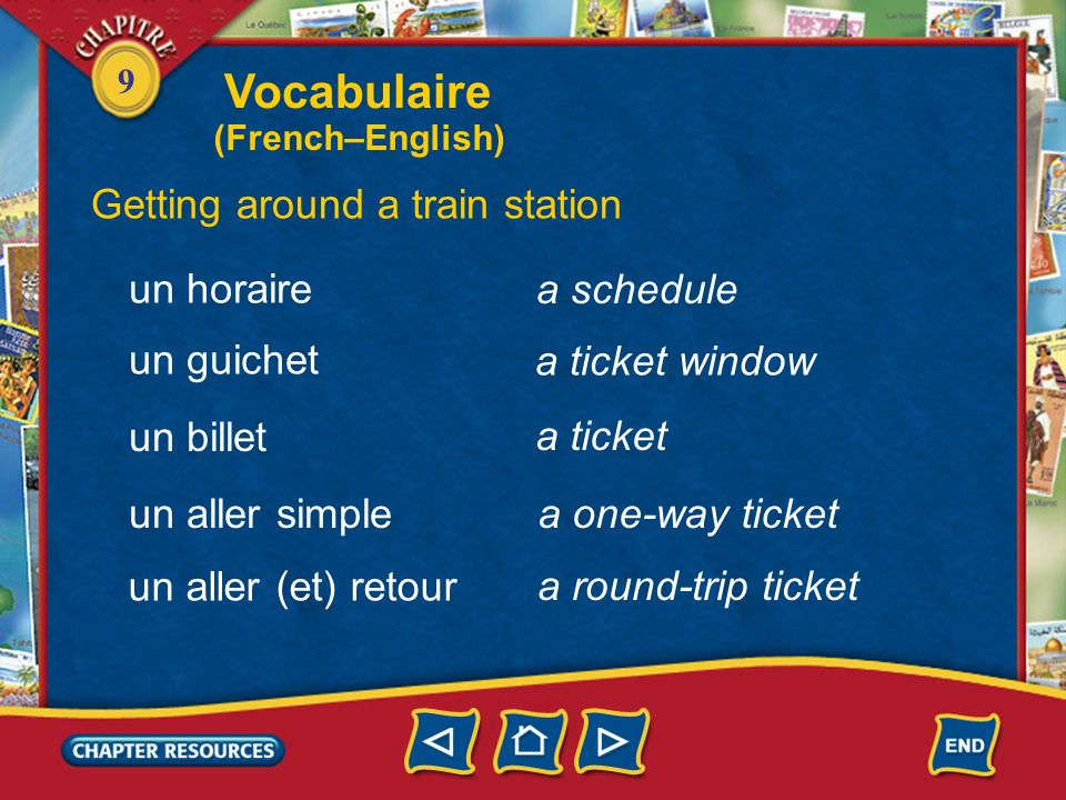 Vocabulaire Getting around a train station un horaire a schedule