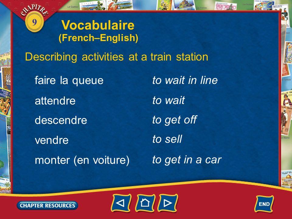 Vocabulaire Describing activities at a train station faire la queue