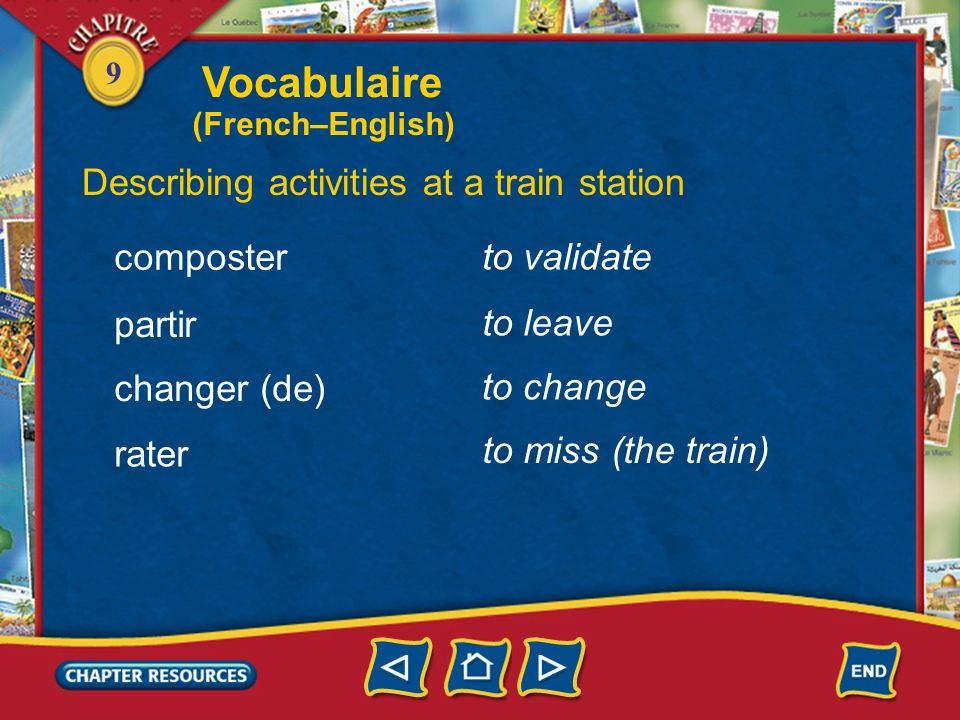 Vocabulaire Describing activities at a train station composter