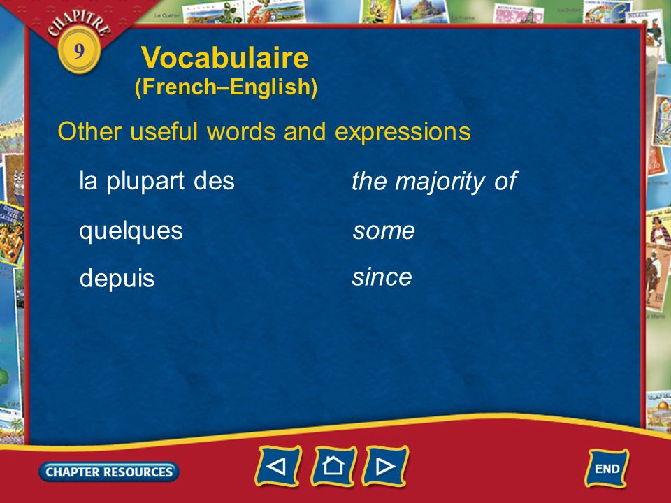 Vocabulaire Other useful words and expressions la plupart des