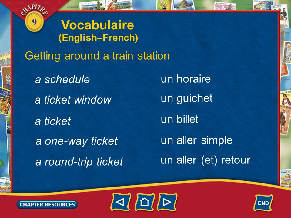 Vocabulaire Getting around a train station a schedule un horaire