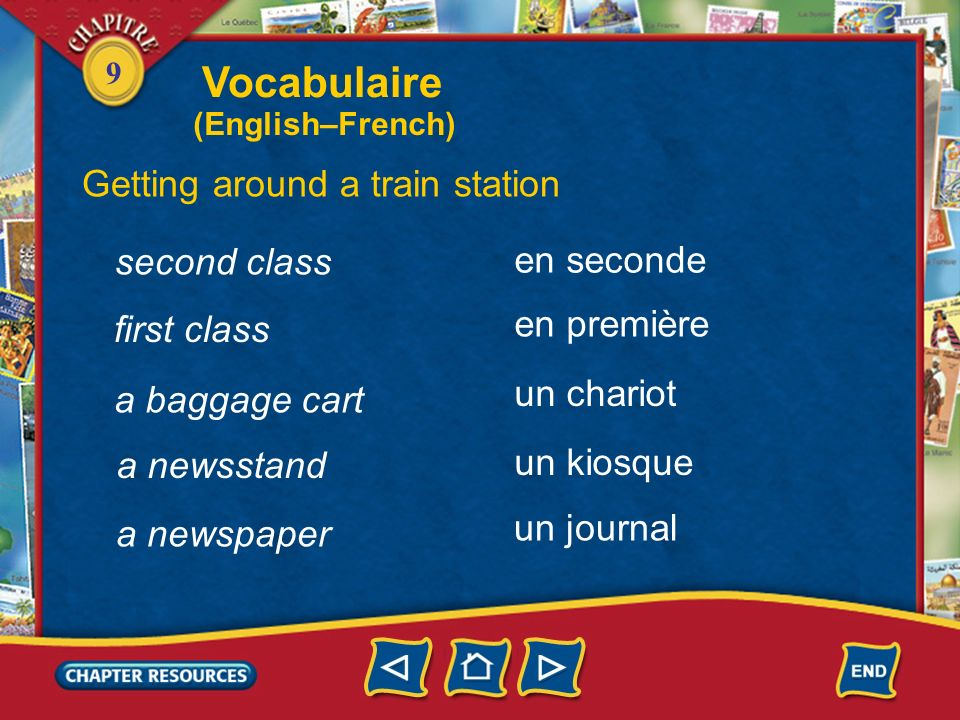 Vocabulaire Getting around a train station second class en seconde