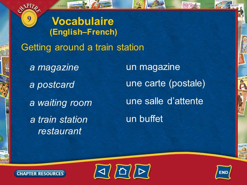 Vocabulaire Getting around a train station a magazine un magazine