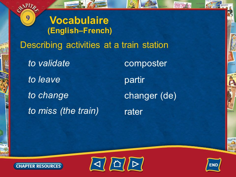 Vocabulaire Describing activities at a train station to validate