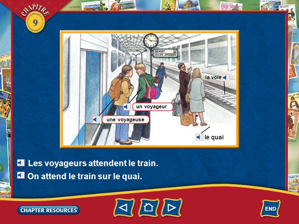 Les voyageurs attendent le train.