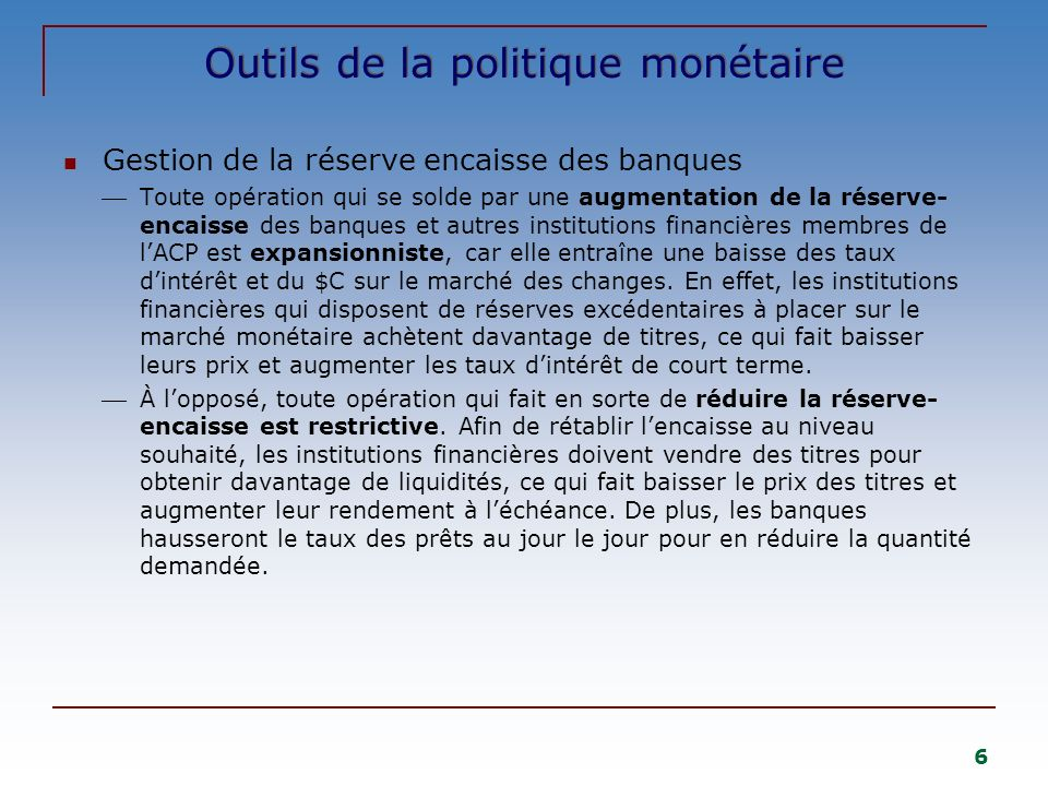 Outils de la politique monétaire