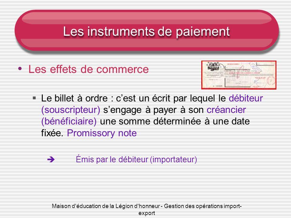 Les instruments de paiement