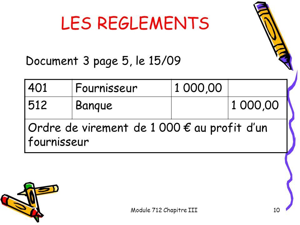 LES REGLEMENTS Document 3 page 5, le 15/09 401 Fournisseur 1 000,00