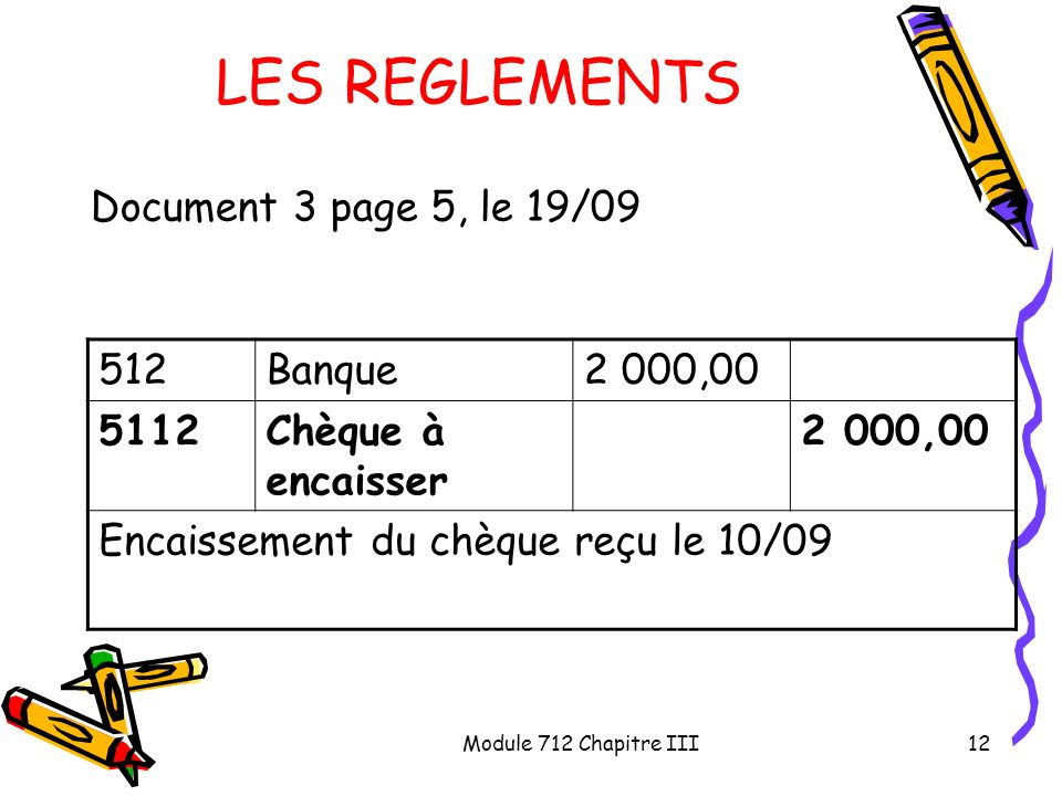 LES REGLEMENTS Document 3 page 5, le 19/09 512 Banque 2 000,00 5112
