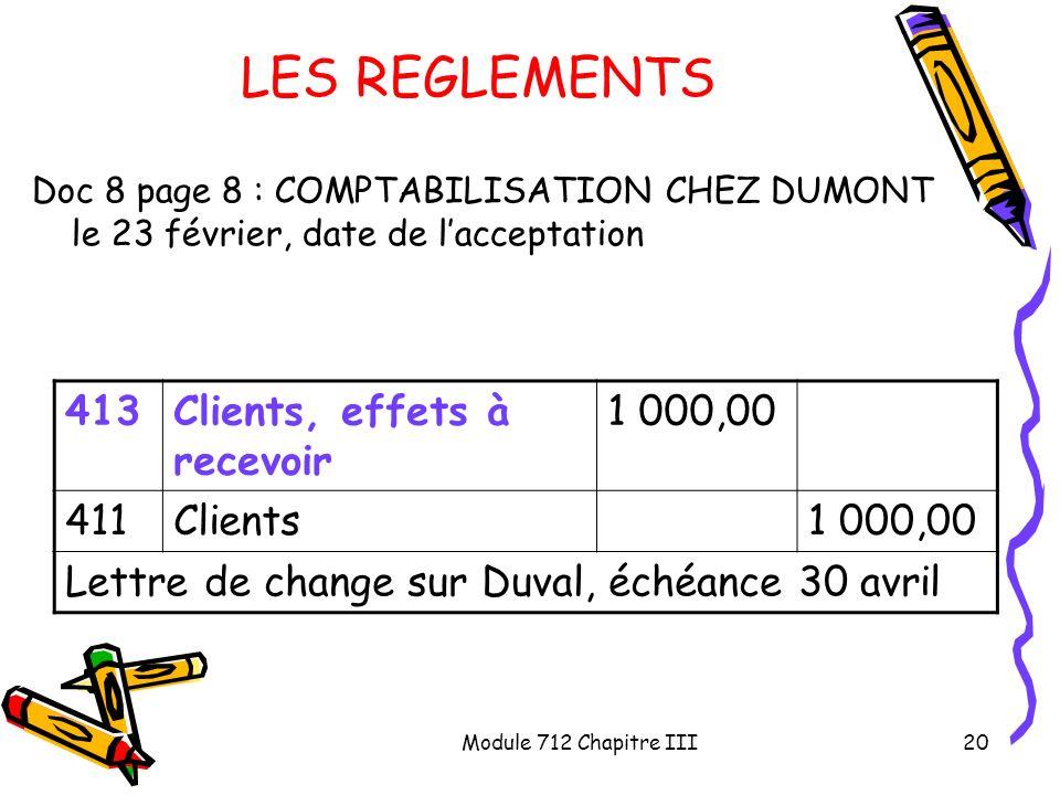 LES REGLEMENTS 413 Clients, effets à recevoir 1 000,00 411 Clients