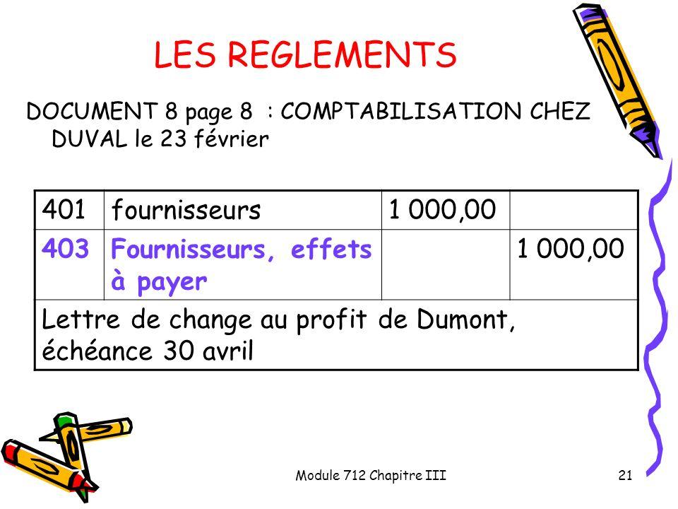 LES REGLEMENTS 401 fournisseurs 1 000,00 403