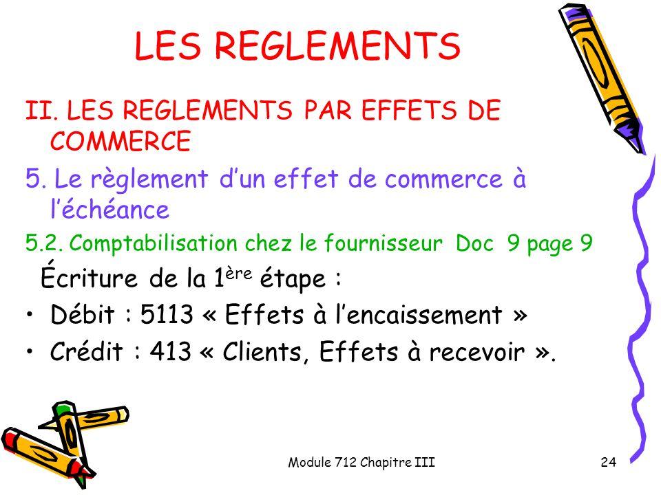 LES REGLEMENTS II. LES REGLEMENTS PAR EFFETS DE COMMERCE