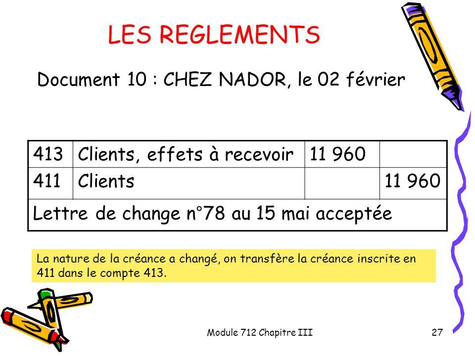 LES REGLEMENTS Document 10 : CHEZ NADOR, le 02 février 413