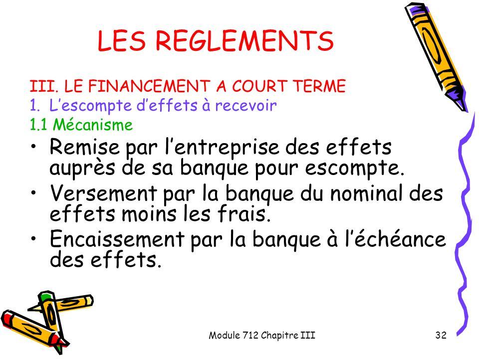 LES REGLEMENTS III. LE FINANCEMENT A COURT TERME. L'escompte d'effets à recevoir. 1.1 Mécanisme.