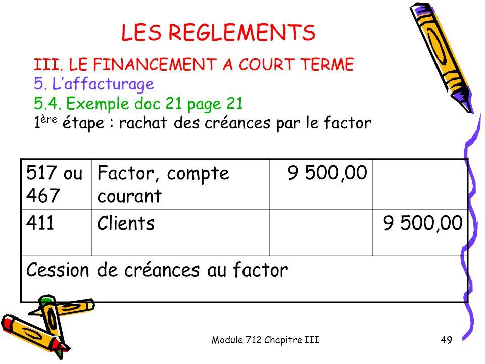 LES REGLEMENTS 517 ou 467 Factor, compte courant 9 500,00 411 Clients