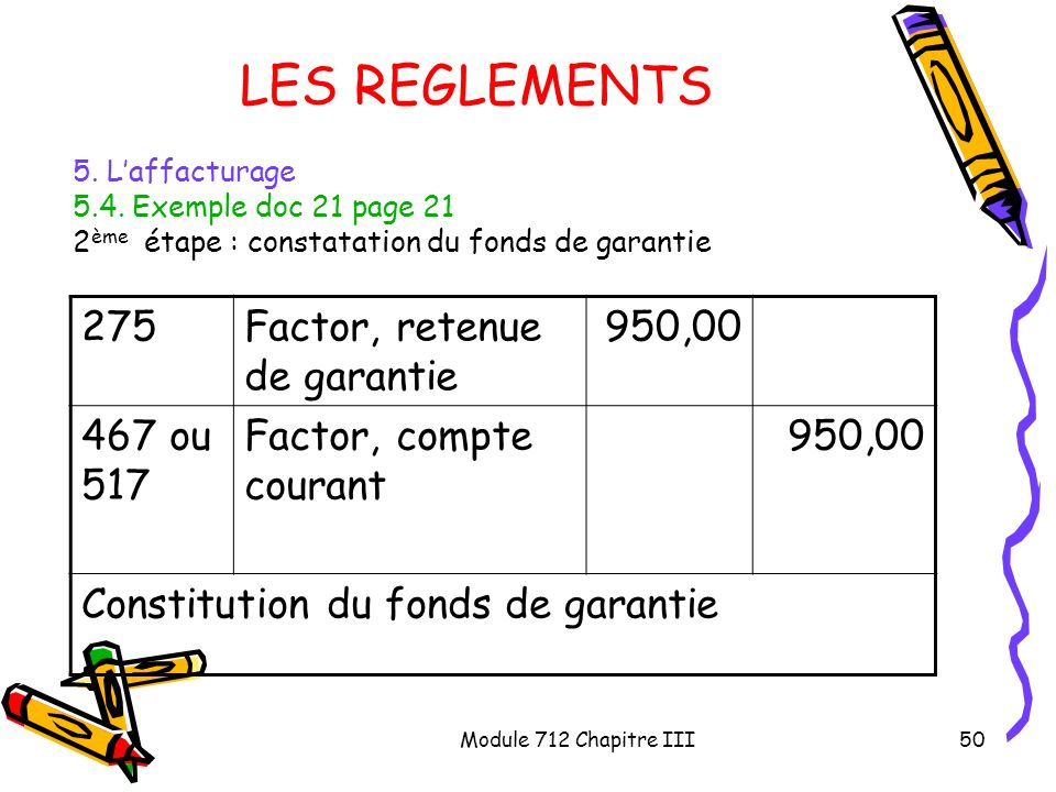 LES REGLEMENTS 275 Factor, retenue de garantie 950,00 467 ou 517