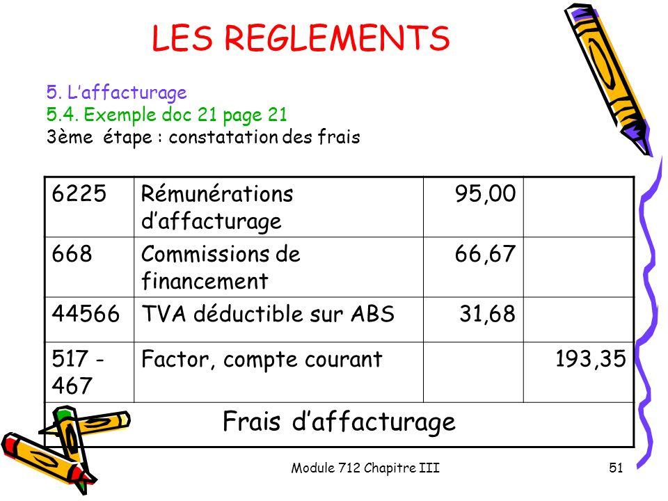 LES REGLEMENTS Frais d'affacturage 6225 Rémunérations d'affacturage