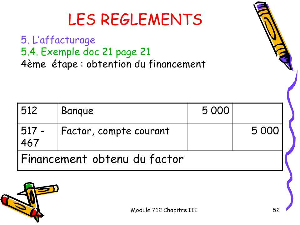 LES REGLEMENTS Financement obtenu du factor 5. L'affacturage