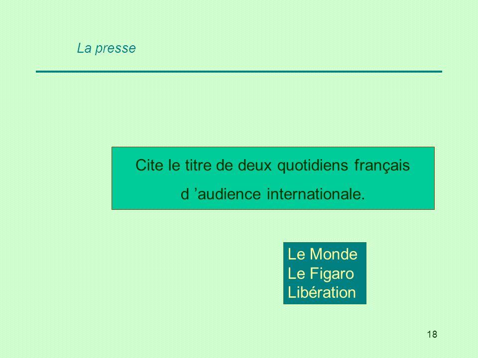 Cite le titre de deux quotidiens français d 'audience internationale.