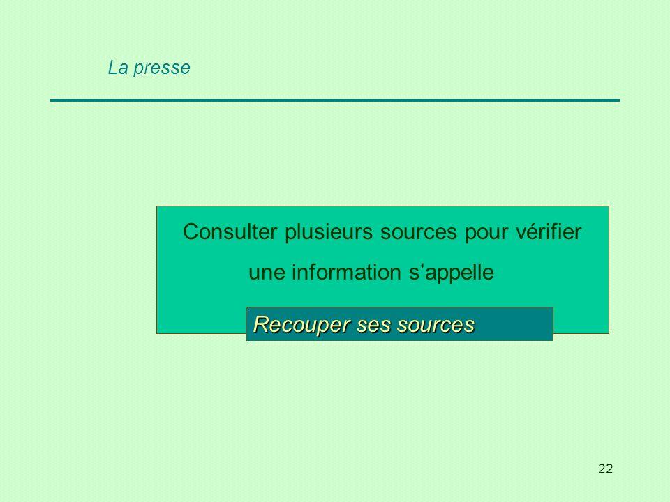 La presse Consulter plusieurs sources pour vérifier une information s'appelle … ses sources.