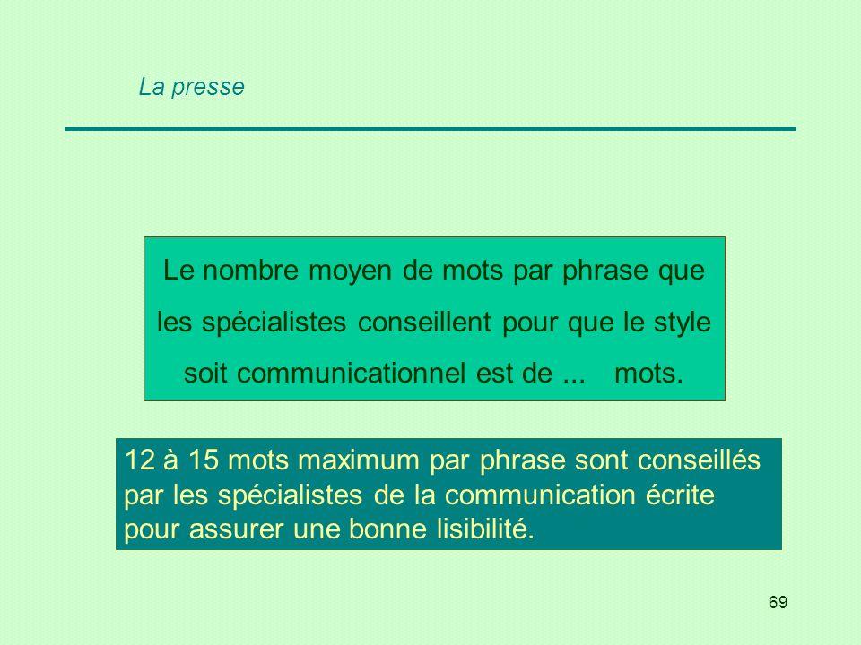 La presse Le nombre moyen de mots par phrase que les spécialistes conseillent pour que le style soit communicationnel est de ... mots.