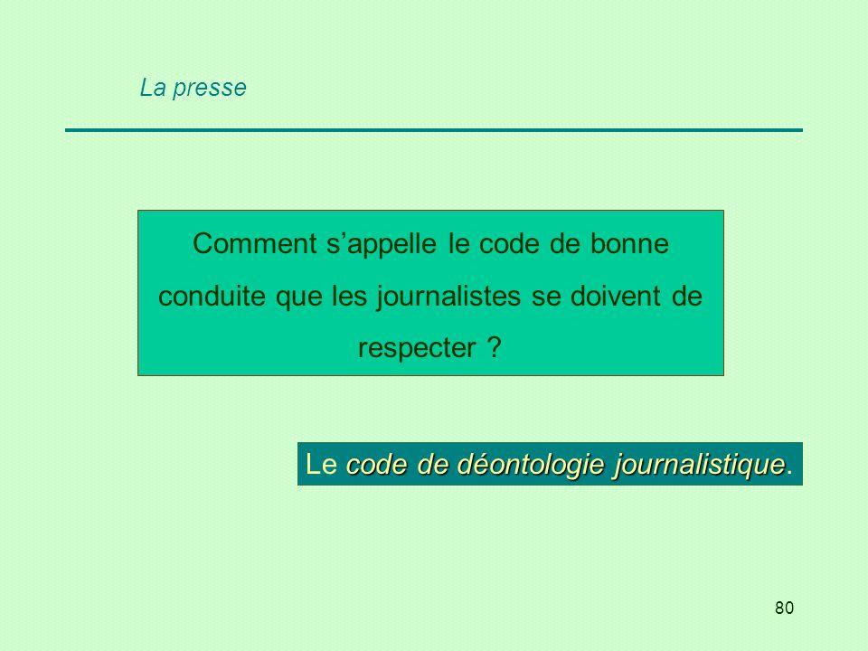 Le code de déontologie journalistique.