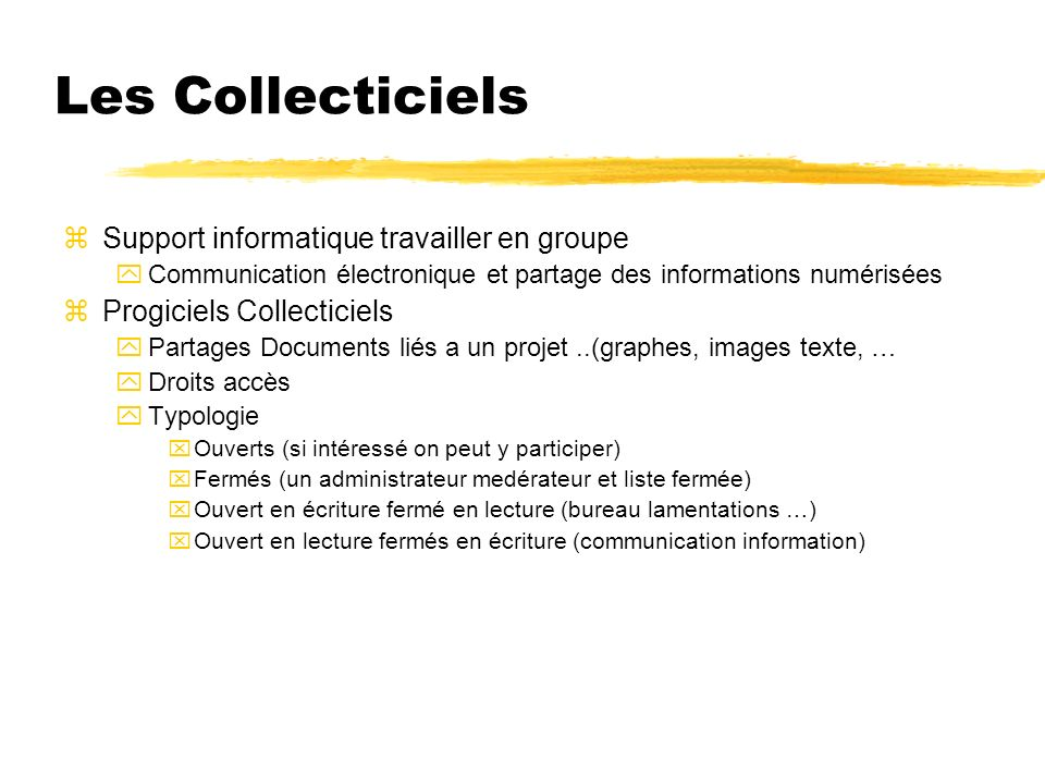 Les Collecticiels Support informatique travailler en groupe