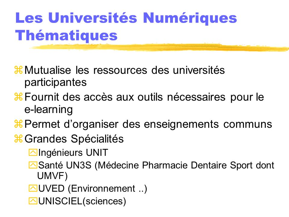 Les Universités Numériques Thématiques