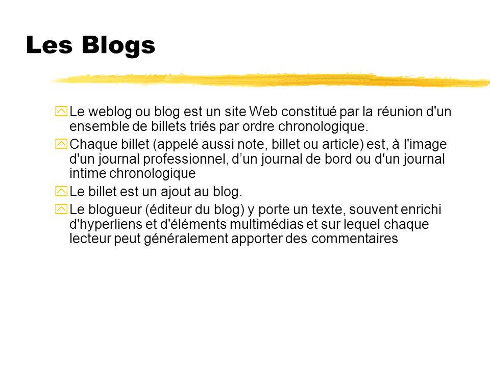 Les Blogs Le weblog ou blog est un site Web constitué par la réunion d un ensemble de billets triés par ordre chronologique.