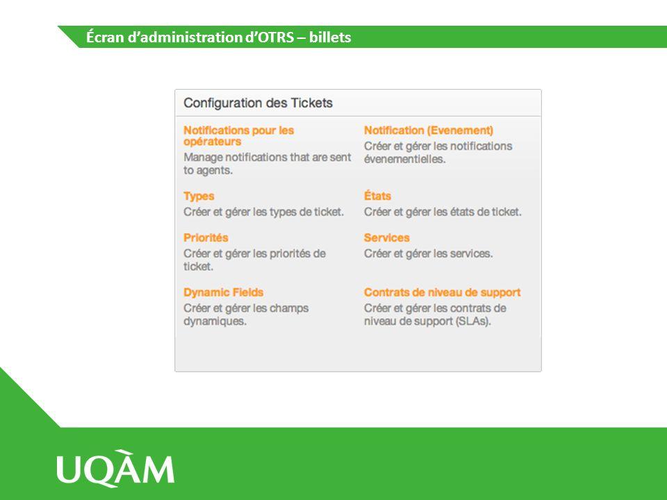 Écran d'administration d'OTRS – billets