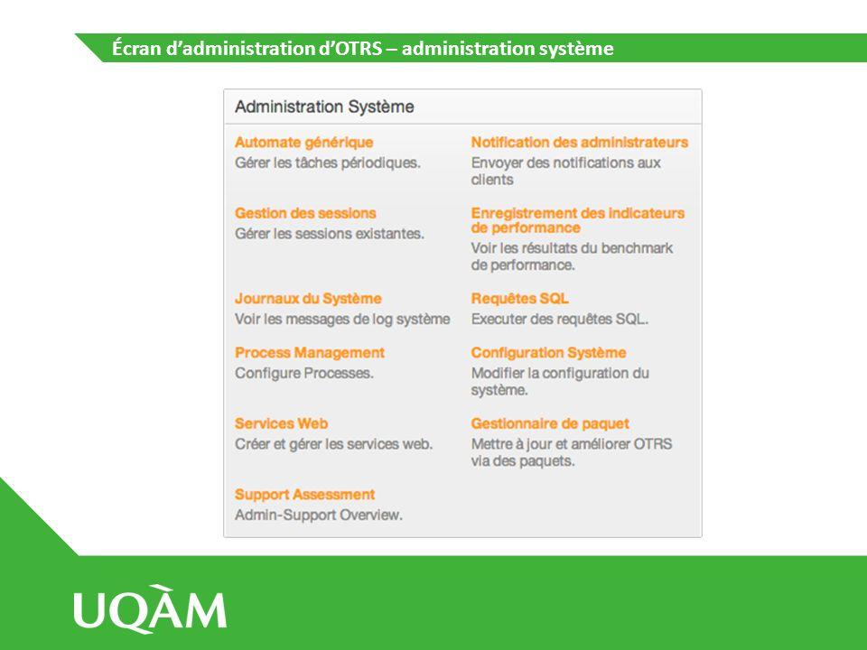 Écran d'administration d'OTRS – administration système