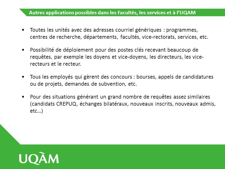 Autres applications possibles dans les Facultés, les services et à l'UQAM
