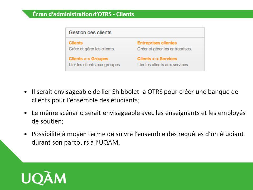 Écran d'administration d'OTRS - Clients