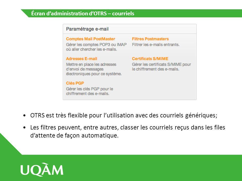Écran d'administration d'OTRS – courriels