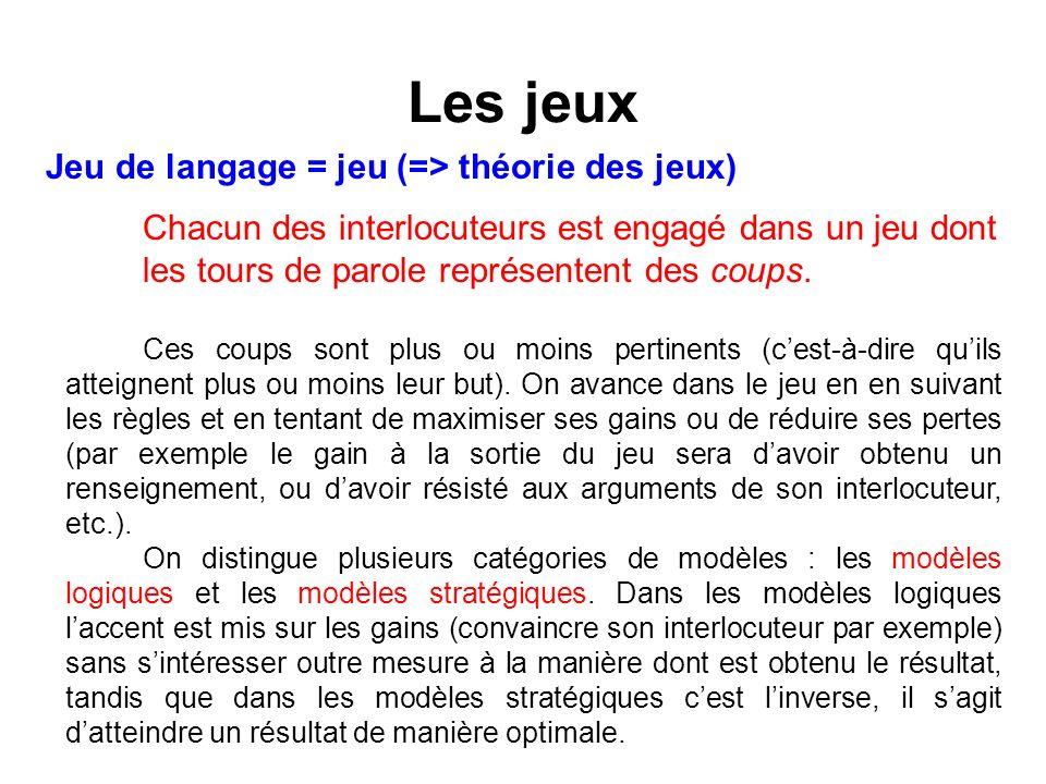 Les jeux Jeu de langage = jeu (=> théorie des jeux)