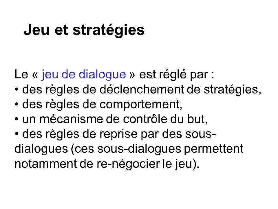 Jeu et stratégies Le « jeu de dialogue » est réglé par :