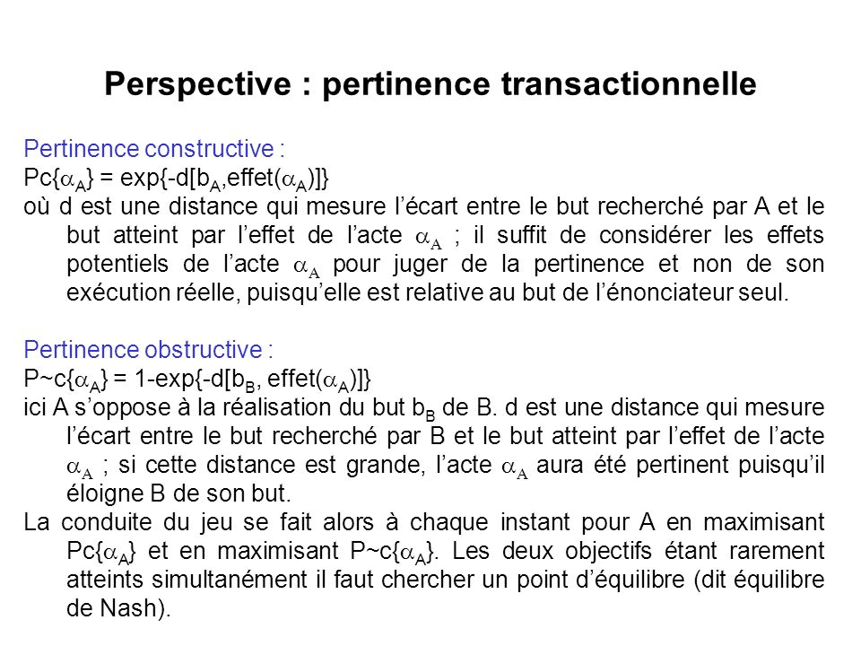 Perspective : pertinence transactionnelle